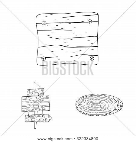 Vector Illustration Of Hardwood And Material Icon. Collection Of Hardwood And Wood Vector Icon For S