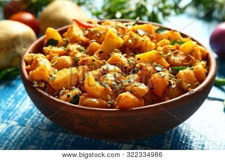Homemade Delicious Punjabi Food - Aloo Jeera, Potato Cooked With Cumin And Herbs- Indian Vegetarian