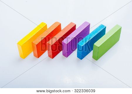 Colorful Domino Blocks Placed On A White Background