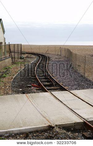 Railway Line On Beach. Brighton. UK