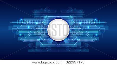 Hi-tech Digital Technology Concept. Illustration High Computer Technology On Blue Background.  Abstr