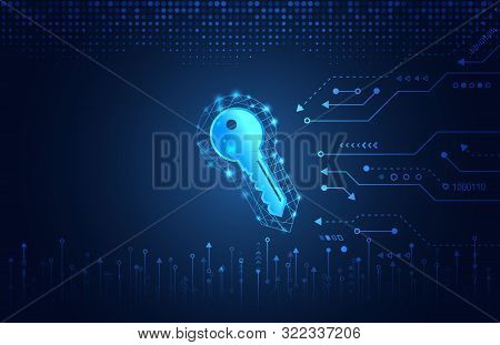 Data Protection Privacy Concept. Key Icon And Internet Technology Networking Connection. Cyber Secur