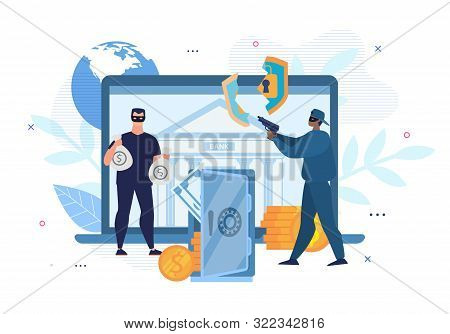 Digital Crimes. Cyber Hacking. E-bank Account Attack. Cartoon Men Thieves In Mask Characters Forced