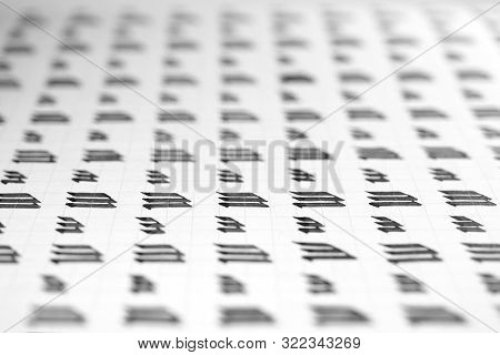 Handwriting Black And White Symbol Filling Pattern. Calligraphic Letter M Learning Skills Paper Page