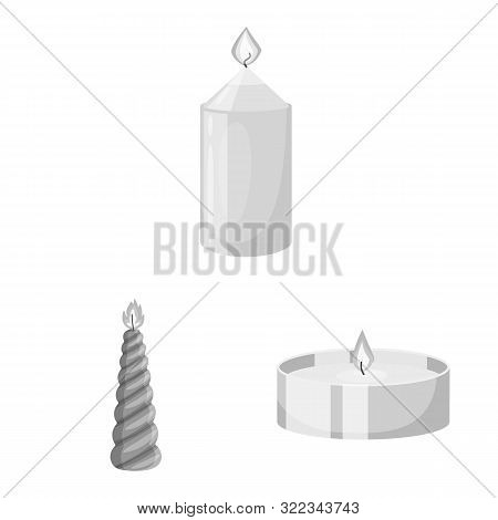 Vector Design Of Paraffin And Fire Logo. Collection Of Paraffin And Decoration Stock Vector Illustra