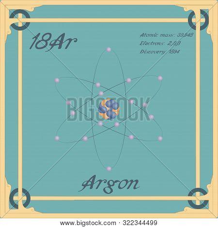 Periodic Table Element. Argon Colorful Icon. Vector.