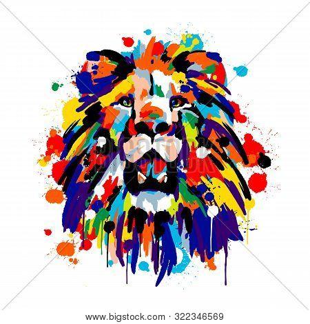 Lions Face, Savannah Animals, Brush Strokes Paints, Colored Spray, Lion Mane
