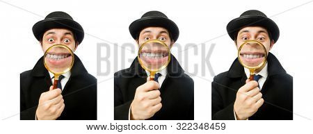 Sherlock Holmes with magnifying glass isolated on white