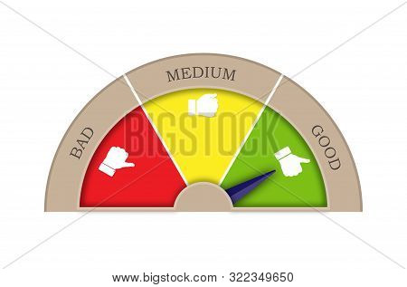 Satisfaction Rating From Three Sectors-good, Medium, Bad. Arrow In Sector Good. Graphic Image Of Tac
