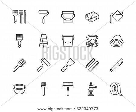 Painter Tools Flat Line Icons Set Home Renovating Equipment Roller Paintbrush Ladder Masking Tape, R