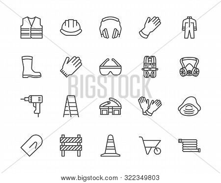 Safety Equipment, Required Ppe Flat Line Icons Set. Protective Gloves Builder Helmet Respirator, Har