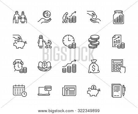 Retirement Plan Flat Line Icons Set. Pension Payment, Money Deposit, Investment Fund Balance Sheet I