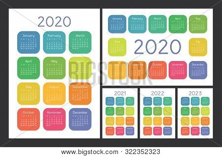 Calendar 2020, 2021, 2022 And 2023. English Color Vector Set. Wall Or Pocket Calender Template. Colo