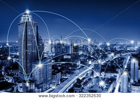 Network Telecommunication And Communication Connect Concept, Connection 5g Networking System Of Infr