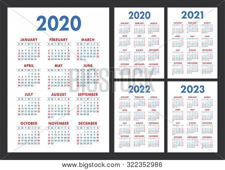 Calendar 2020, 2021, 2022 And 2023. English Color Vector Set. Wall Or Pocket Calender Template. Desi