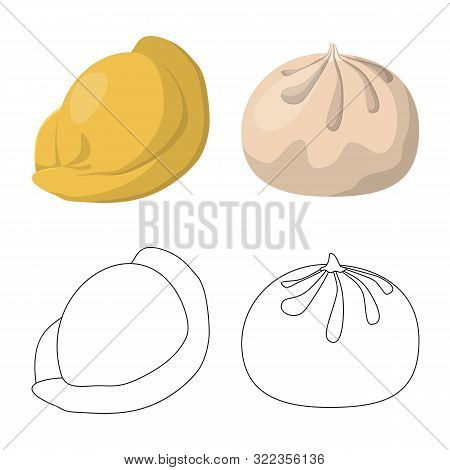 Vector Illustration Of Products And Cooking Logo. Set Of Products And Appetizer Vector Icon For Stoc