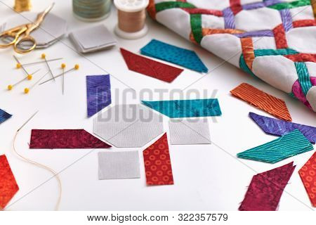 The Preparation Of Fabrics Pieces For A Quilting Blocks Sewing, Fragment Of Quilt, Quilting And Sewi