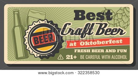 Oktoberfest Beer And Brewery Festival, Handmade Craft Beer Vintage Poster. Vector Draught Craft Beer