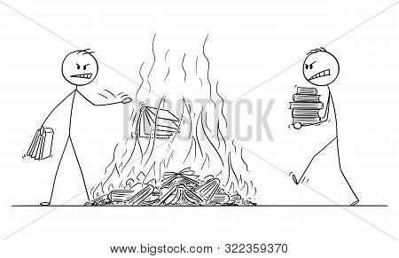 Vector Cartoon Stick Figure Drawing Conceptual Illustration Of Two Men Burning Books, Throwing Books