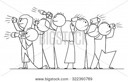 Vector Cartoon Stick Figure Drawing Conceptual Illustration Of Group Of People, Photographers Or Tou