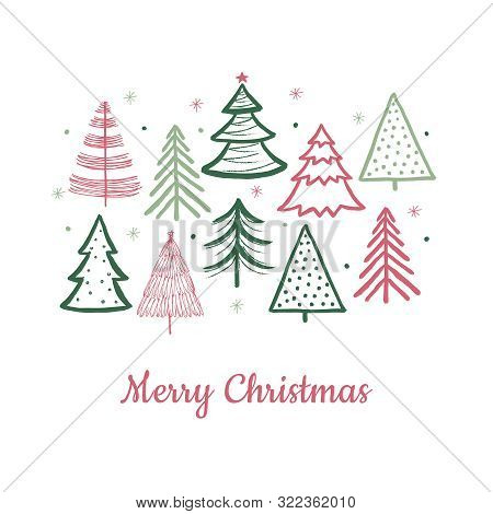 Doodle Christmas Tree Card. Doodle Fir-trees Snow Season Concept. Vector Winter Holiday Background.