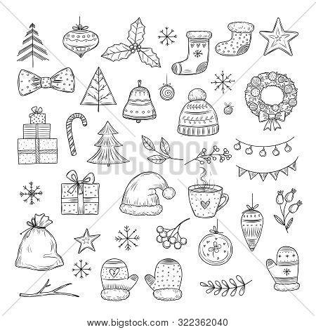 Winter Holiday Doodle Set. Sketch Christmas Gift Boxes, Santa Hats, And Fir-trees, Xmas Garland. Vec