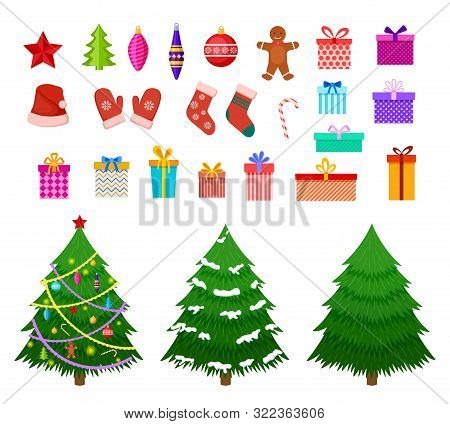 Christmas Flat Elements. Santa Hat, Gift Boxes And Xmas Socks. Christmas Trees With Toys And Gingerb