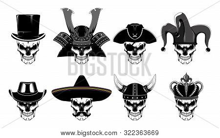 Set Of Vector Images Of Skulls. Black And White Images On A White Background.