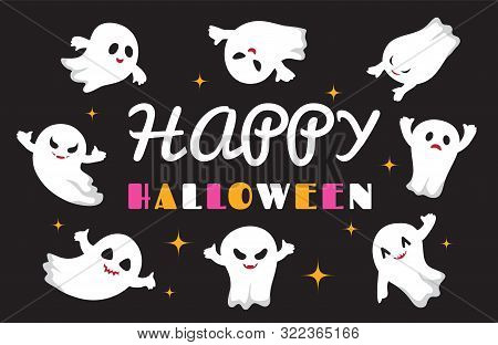 Cute Ghosts. Flat Ghost Vector Character. Happy Halloween Background. Illustration Halloween Spooky