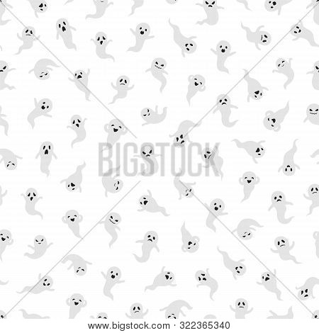 Ghost Seamless Pattern. Halloween Ghosts Vector Background. Mystical Texture Design. Illustration Pa
