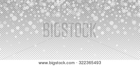 Winter Snowfall. Falling Snow, Flakes Banner. Vector Christmas Snowfall Border Isolated On Transpare