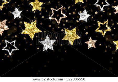 Christmas Background. Gold Stars Vector Banner. Shining Silver Gold Bronze Stars, New Year Xmas Back