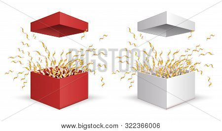 Gift Box. Surprise Box Vector Set. Opening Birthday Surprise And Christmas Present With Gold Ribbons