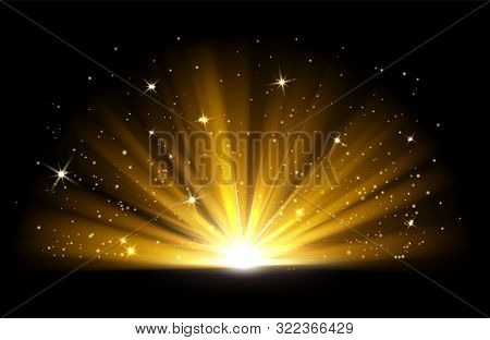 Light Effect. Vector Shining Golden Bright Light. Gold Shine Burst With Sparkles Illustration Isolat