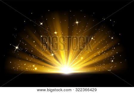 Light Effect. Vector Shining Golden Bright Light. Gold Shine Burst With Sparkles Illustration Isolat