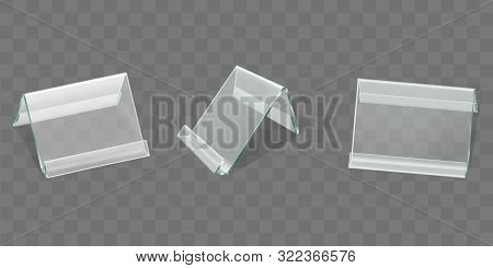 Acrylic Nameplate, Plastic Table Display Or Talker, Menu Holder Front, Half Turn View 3d Realistic V