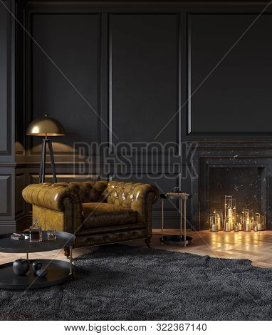 Black Classic Interior With Armchair, Moldings, Fireplace, Candle, Floor Lamp, Carpet And Table. 3d