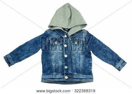 Jeans jacket with detachable hood. Fashionable jacket for child boy. Top view front. poster