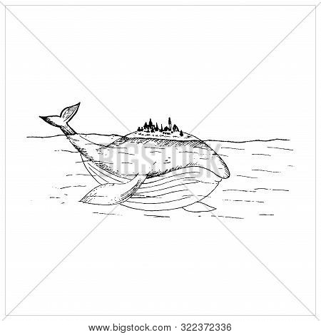 Whale Sketch, Sketch Of A Fairy Whale In The Sea, Whale Drawing With A Fictional City On The Back, C