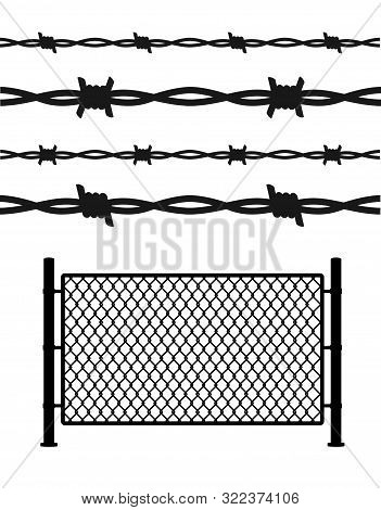 Silhouette Black Metal Wire Mesh And Barbed Wire For Prison Barrier Or Secured Property. Vector Illu