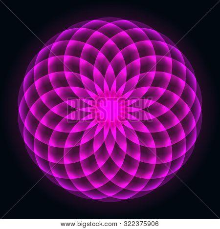 Mathematical Symbol. Mandala Design. Flower Of Life. Sacred Geometry. Pattern Of Rotating Circles. B