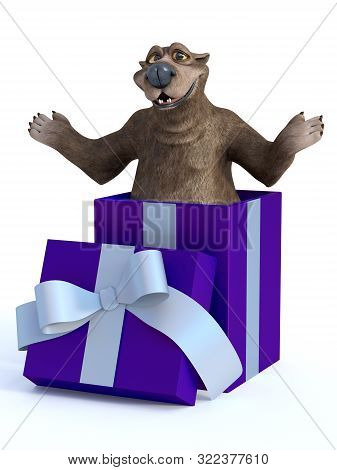 3d Rendering Of A Charming Cartoon Bear Popping Out Of A Purple Gift Box Ready To Surprise. White Ba