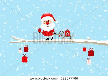 Santa Pulling Sleigh With Gift On Bough Light Blue