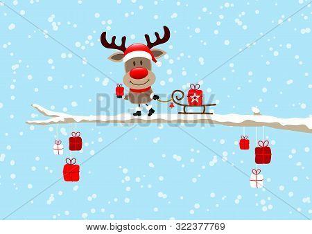 Reindeer With Sleigh On Bough Sky Light Blue