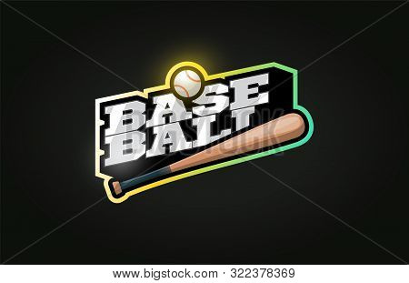 Baseball Mascot Modern Professional Sport Typography In Retro Style. Vector Design Emblem, Badge And