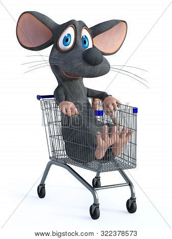 3d Rendering Of A Cute Smiling Cartoon Mouse Sitting In A Shopping Cart. White Background.