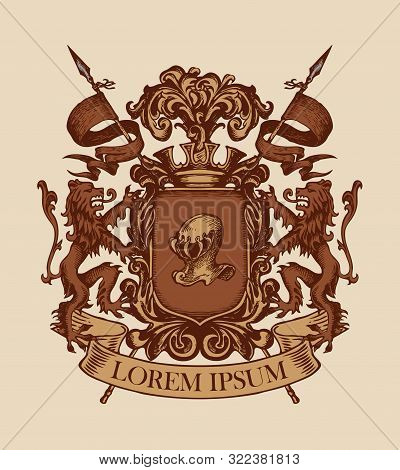 Vector Heraldic Coat Of Arms In Vintage Style With Shield, Knightly Armor, Spears, Crown, Lions, Rib