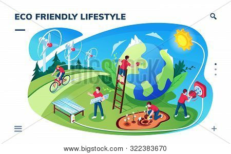 Isometric Smartphone Screen With Eco Friendly Lifestyle Concept. Ecology And Green Earth, Sustainabl
