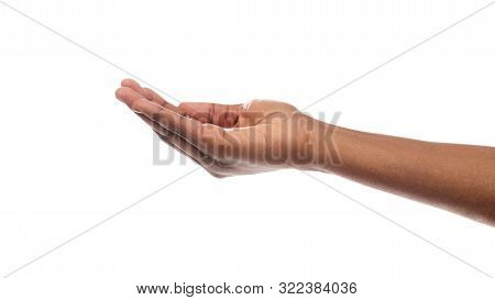 Offering Or Begging. Black Womans Hand Keeping Empty Cupped Palm Isolated On White Background. Panor