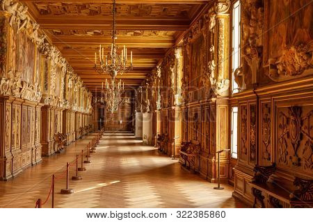 Fontainebleau, France, March 30, 2017: Room interior in palace Chateau de Fontainebleau which used to be a royal chateau castle, now a national museum and a UNESCO World Heritage Site